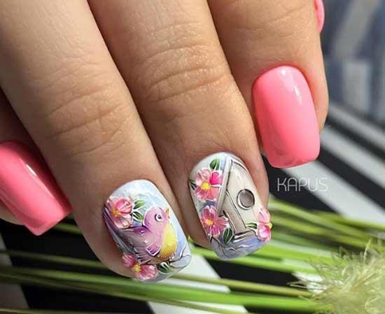 Флора и фауна в дизайне ногтей