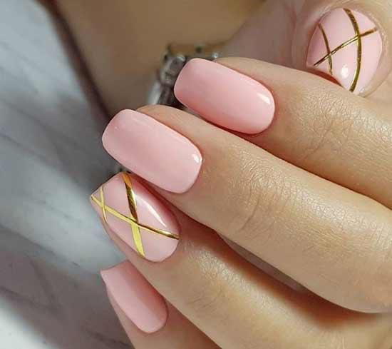 Пыльная роза - дизайн ногтей в офис