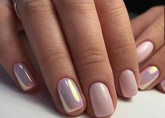 Дизайн ногтей в офис - нежно-розовый