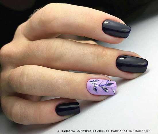 Темный цвет и акцент на одном ногте