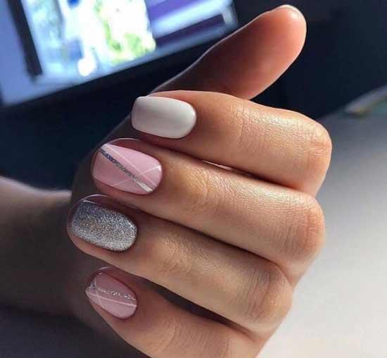 Серый+розовый маникюр