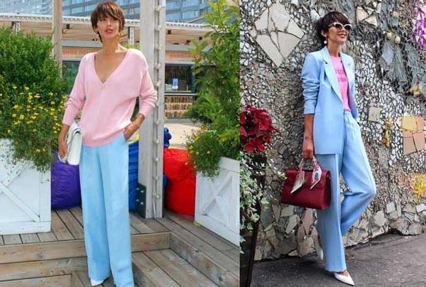 Широкие брюки модные образы