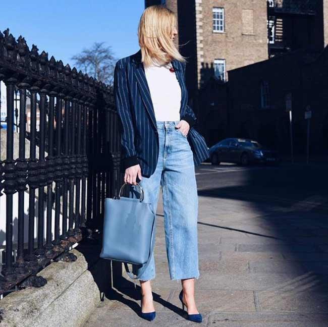 Джинсовые широкие брюки с чем носить