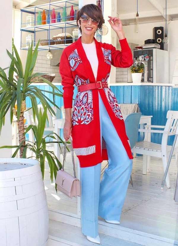Брюки широкие + кардиган модный образ