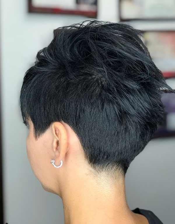 Стрижка пикси на темные волосы