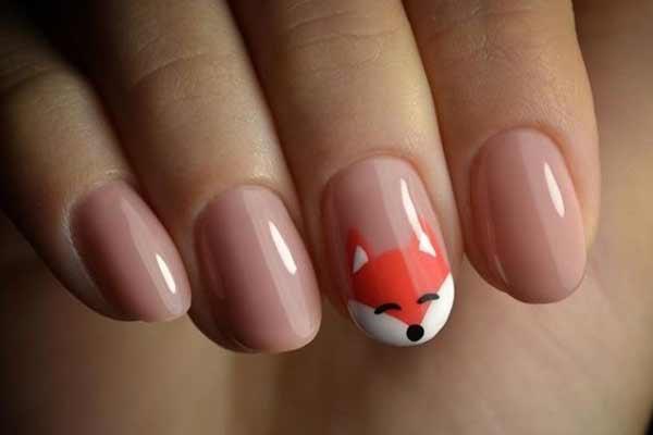 Рисунок рыжей лисы и нюдовый