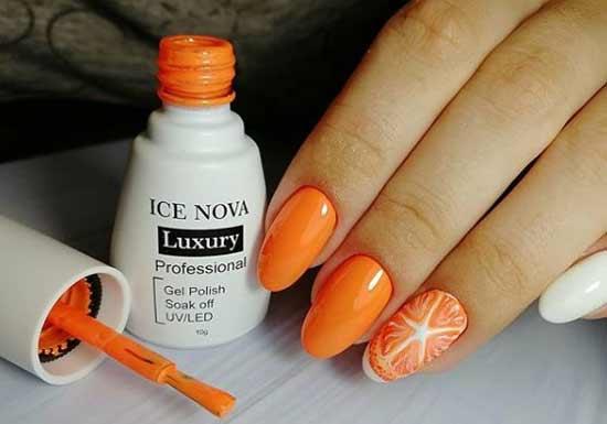 Оранжевый маникюр осенний