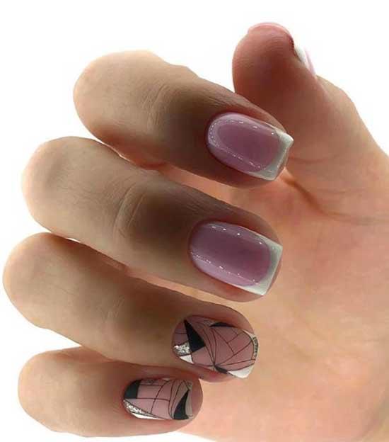 Блестки в геометрии на ногтях