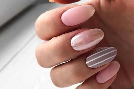 Втирка + матовый на овальные формы ногтей