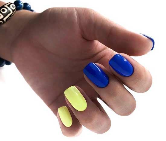 Синий + желтый дизайн ногтей дома