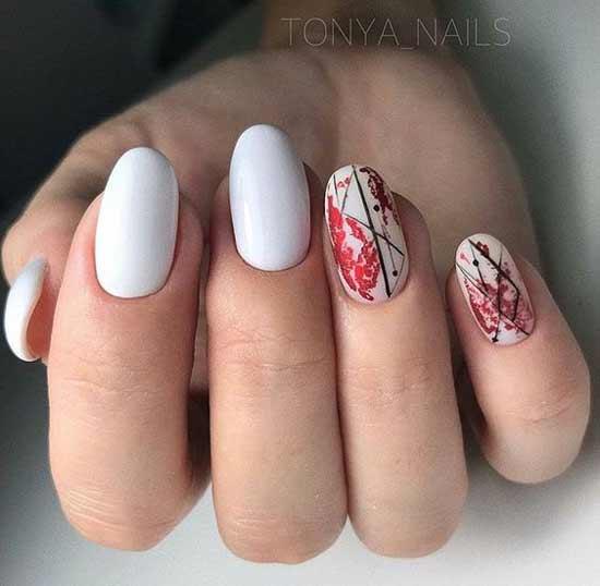 Осенний пейзаж на ногтях