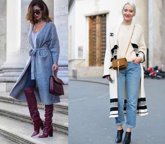 Модные кардиганы с чем носить