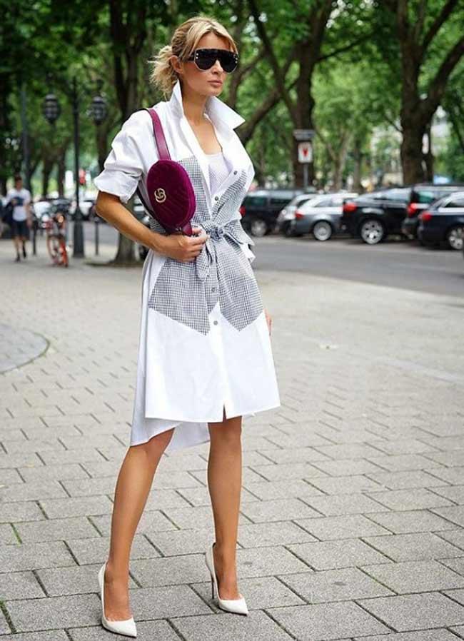 Удлиненная белая рубашка с чем модно носить