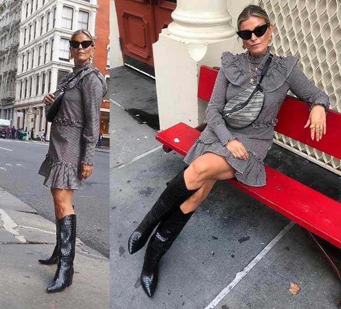 Мини-платье с высокими сапогами - образ блогера polliani
