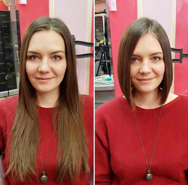 Каре из длинных волос