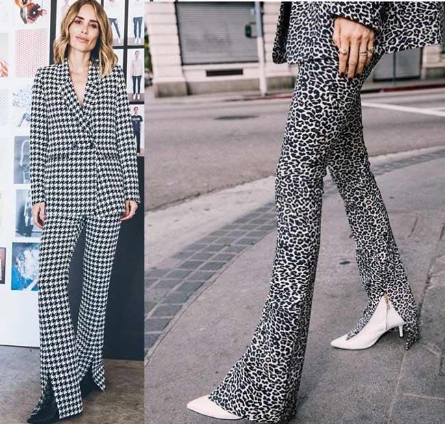 Модные брюки с разрезами и принтом