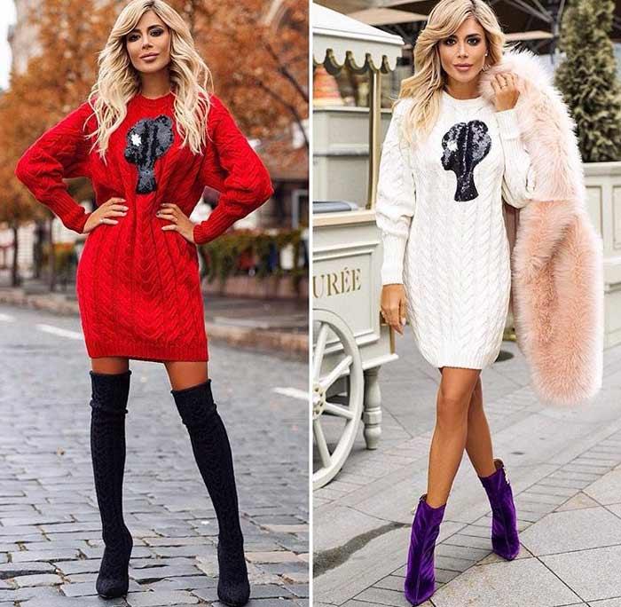 Модные вязаные платья на осень