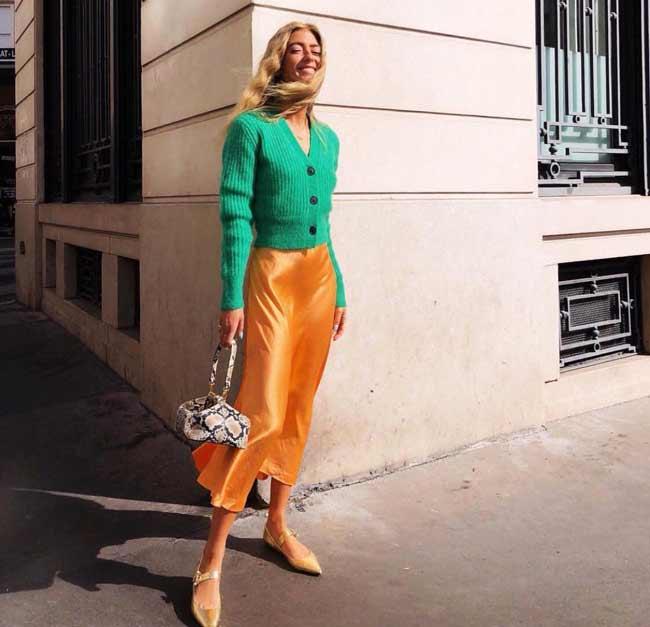 Оранжевый+зеленый цвет в одежде осенью - стильный образ