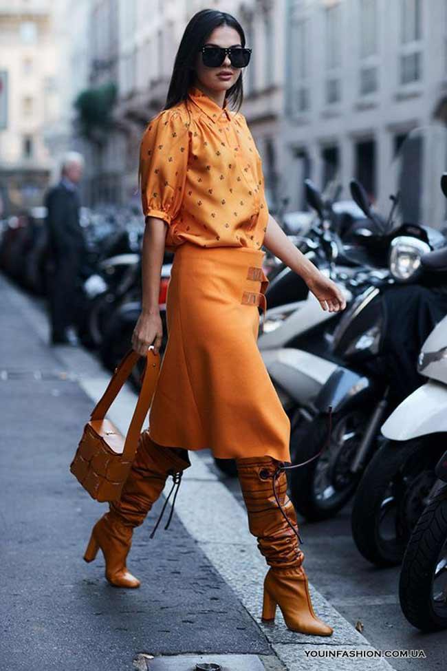 Образ стритстайл - монохромный оранжевый