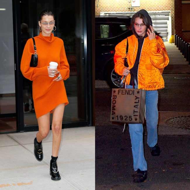 Оранжевый цвет в одежде осенью