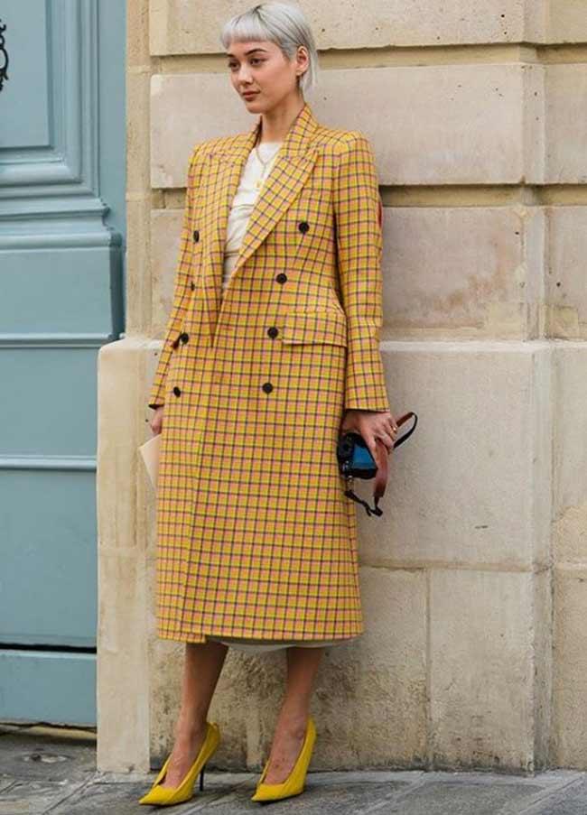 Осеннее модное пальто клетка