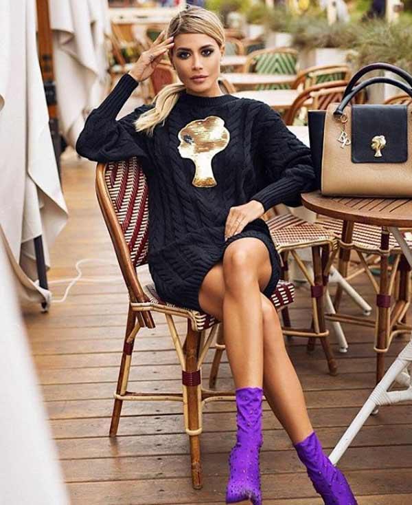 Модное платье-свитер 2019