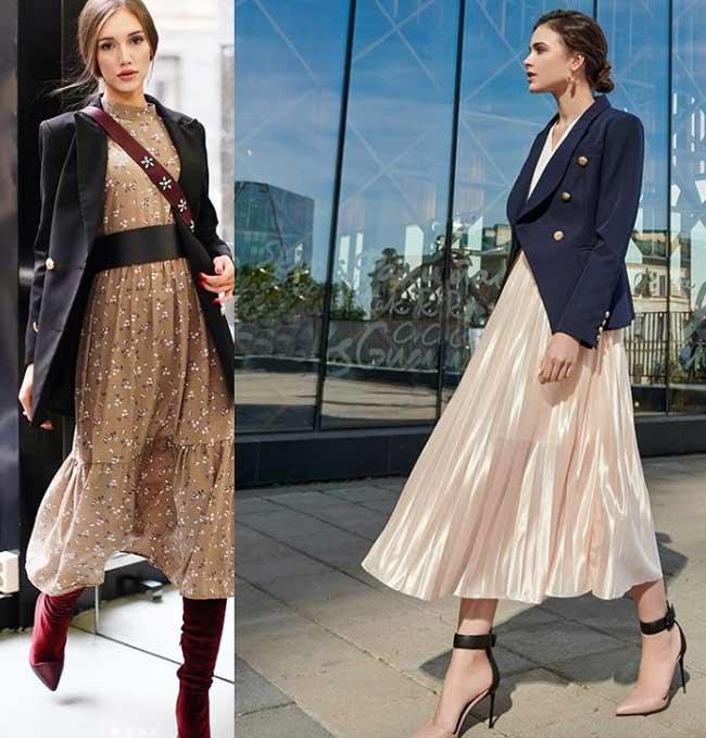 Образы пиджак + платье для работы