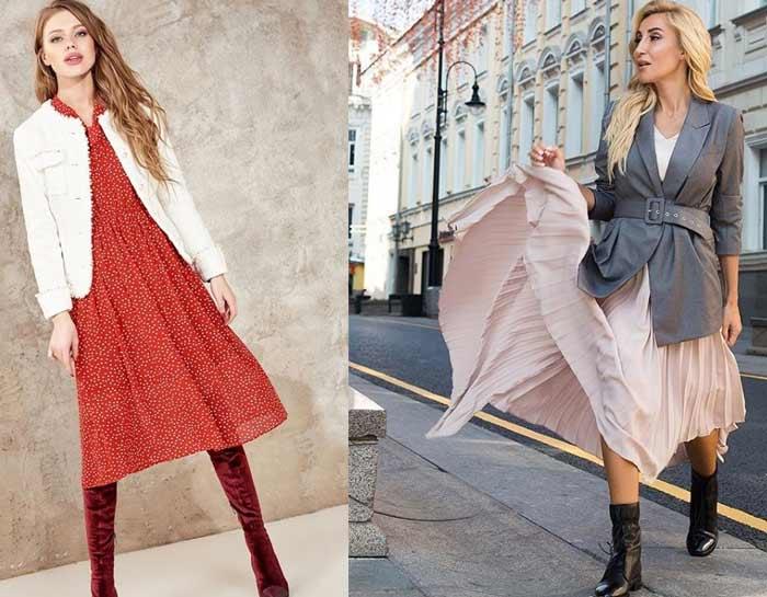 Твидовый жакет + красное платье в горох
