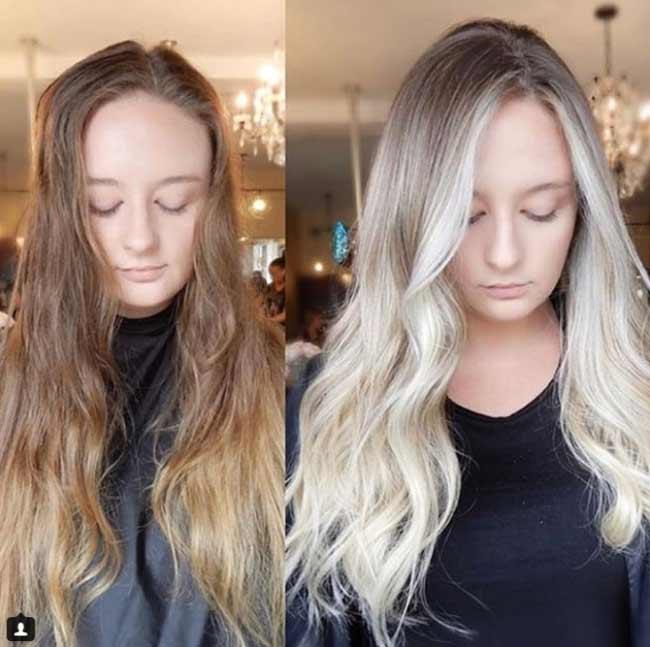До и после окрашивания волос