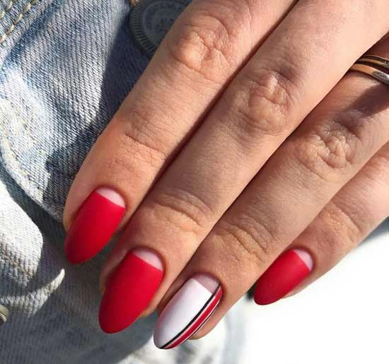 Красный+белый в маникюре