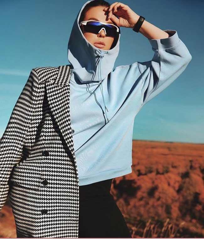 Худи + пальто модный образ 2018-2019