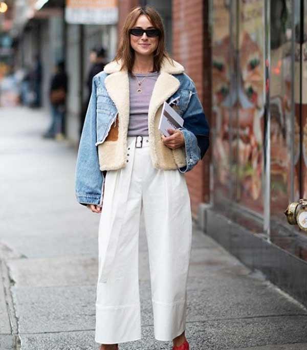 Модная дубленка под джинсовку