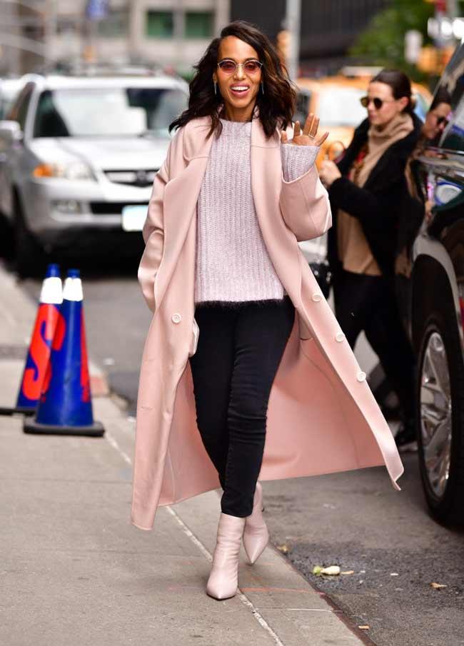 Длинное осеннее пальто модный фасон и расцветка