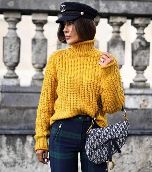 Модный образ со свитером в горчичном цвете