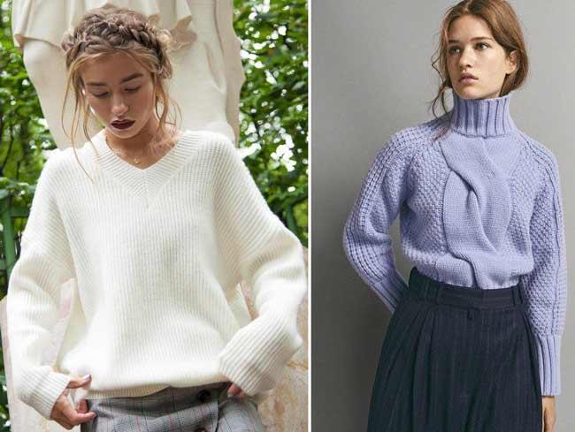 Модные объемные свитеры с чем носить