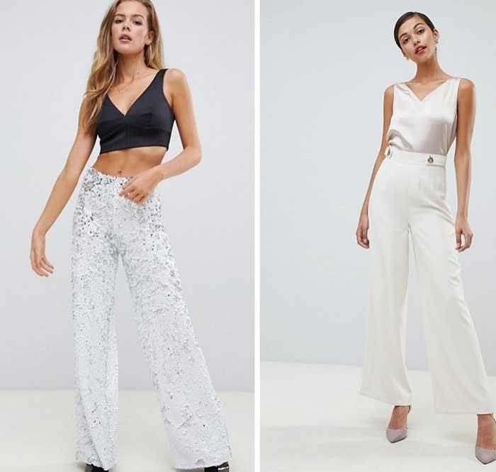 Белые широкие брюки на Новый год