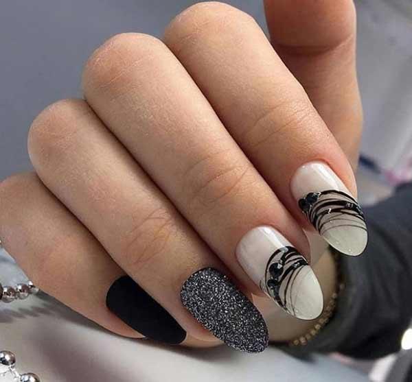 Черная гель-краска Паутинка на ногтях