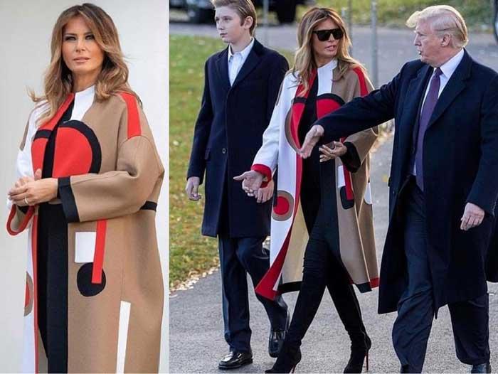 Мелания Трамп в бежевом пальто
