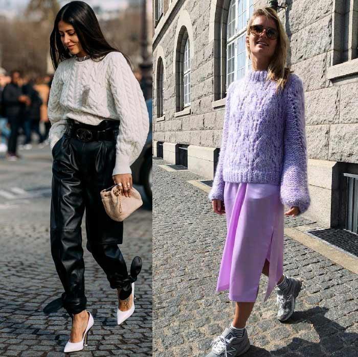 Как носить свитер-оверсайз