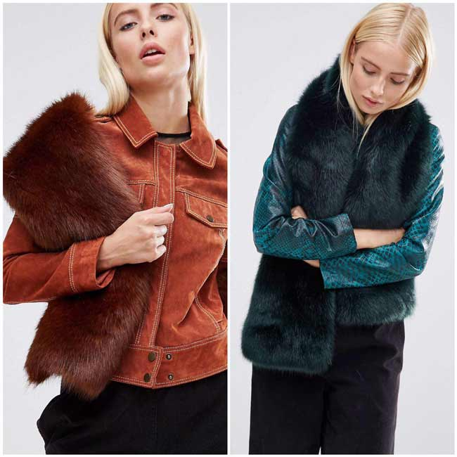 Меховой шарф для пальто
