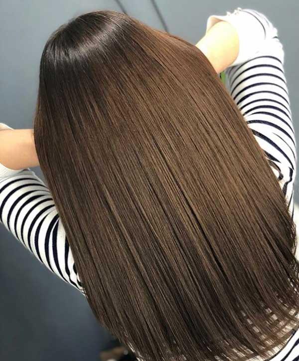 Холодный средне-коричневый модный цвет волос
