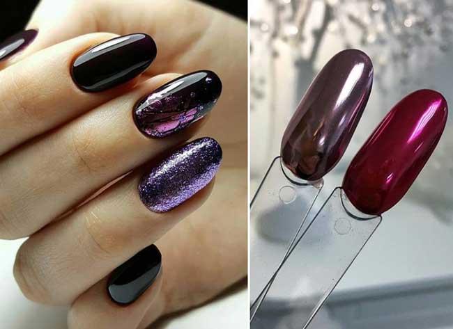 Красно-малиновый металлик на ногтях