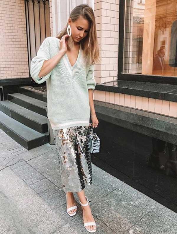 Модные юбки 2019-2020 - с пайетками