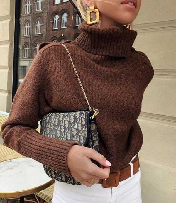 Самый модный коричневый свитер 2019