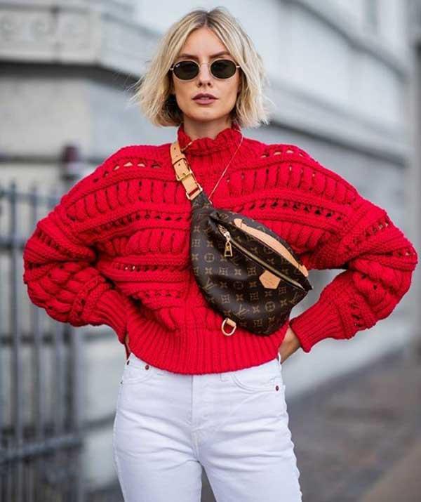 Красный модный свитер 2019