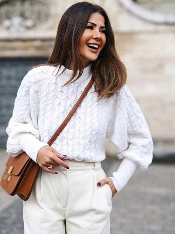 Модный белы свитер 2019