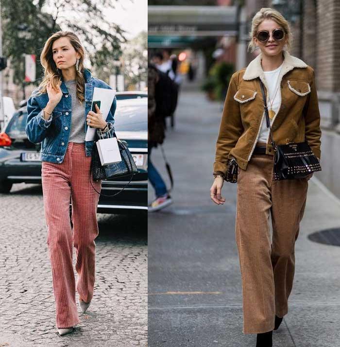Как стильно носить вельветовые брюки