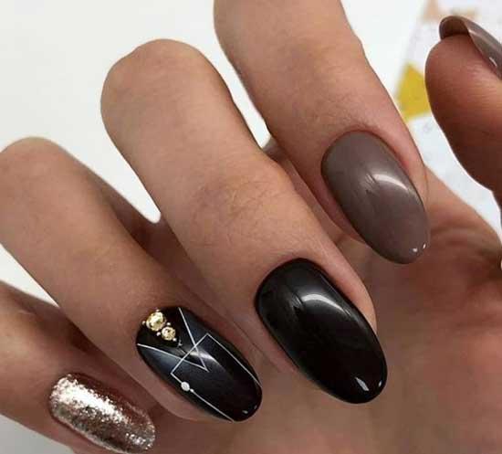 Геометрия и жидкая фольга на ногтях