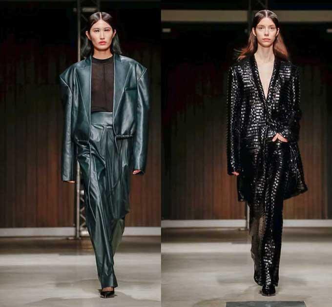 Модные кожаные брючные костюмы 2020
