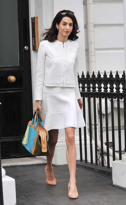 Образы Амаль Клуни - белый костюм двойка